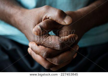 Closeup of black hands