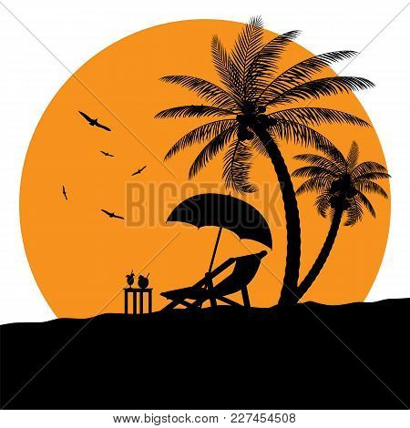 Silhouette Of Wooden Chaise Lounge, Palm Tree On Beach. Umbrella And Table With Coconut And Cocktail
