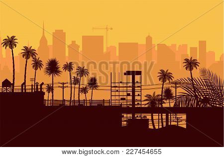 City Skyline Silhouette At Sunset. Skyscappers, Towers, Office And Residental Buildings. Palm Tree A