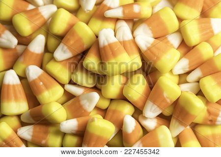 Candy Corn Halloween Candies Shot Close Up On A White Background