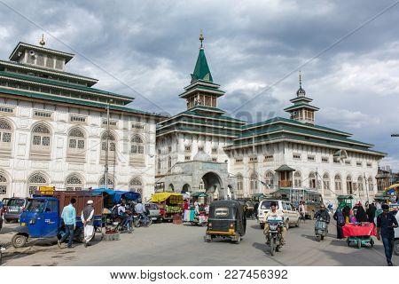 Srinagar, India - June 15, 2017: 200-year-old  Masjid Dastgeer Sahib mosque in Srinagar, Kashmir, India
