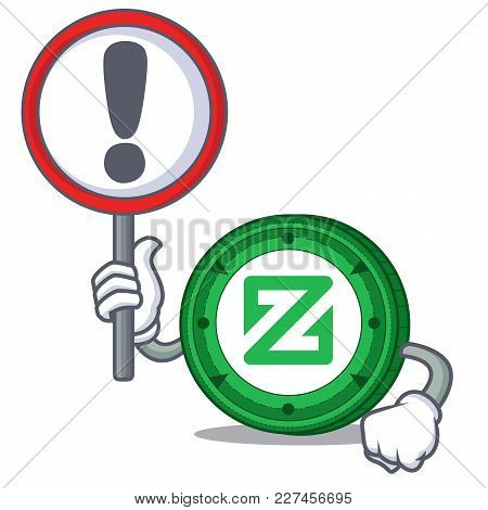 With Sign Zcoin Character Cartoon Style Vector Illustration