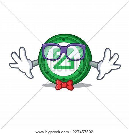 Geek Zcoin Character Cartoon Style Vector Illustration