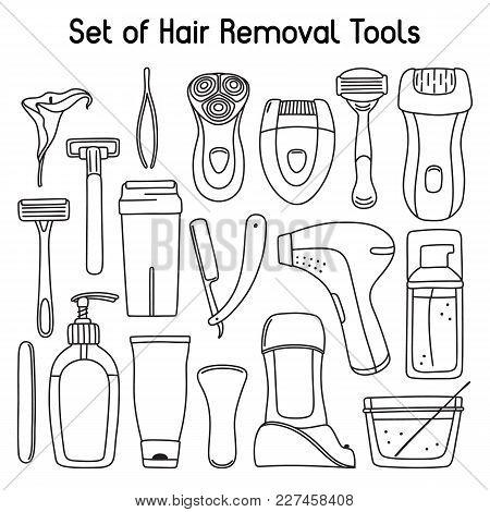 Big Hand-drawn Set Of Hair Removal, Laser Depilation, Epilation, Shaving, Waxing And Sugaring Tools,