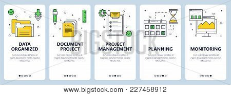 Vector Set Of Vertical Banners With Data Organized, Document Project, Project Management, Planning,