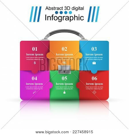 Briefcase, Puzzle, Office - Business Infographic Vector Eps 10