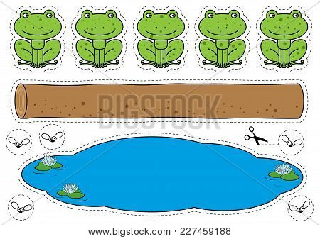 Cartoon Frogs, Log, Pool And Bugs Cutting Shapes. Five Little Speckled Frogs Game For Children Educa