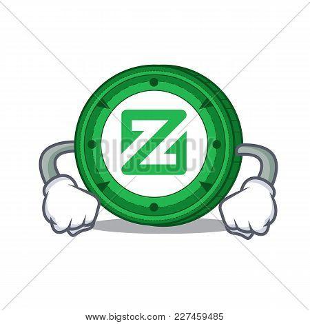 Angry Zcoin Mascot Cartoon Style Vector Illustration