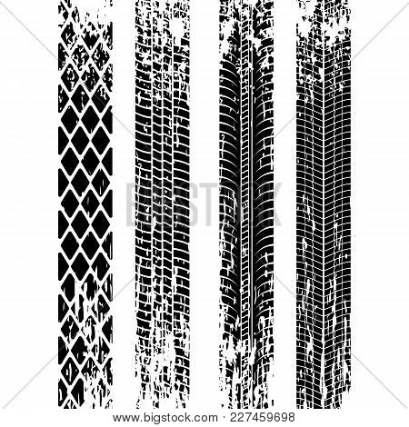 Set Of Tire Track Silhouette. Grunge Tire Track. Black Tire Track. Vector Illustration