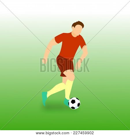 Dribbling Run Football Player Vector Illustration Graphic Design