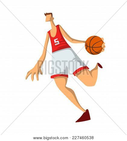 Basketball Player In Abstract Flat Style. Man Playing With A Basketball Ball. Vector Illustration, I