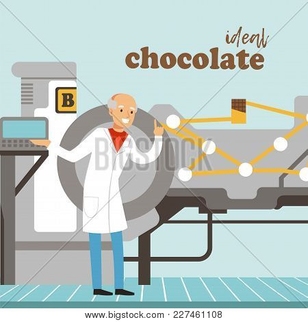 Male Confectioner Controlling Chocolate Factory Production Line Illustration, Web Design