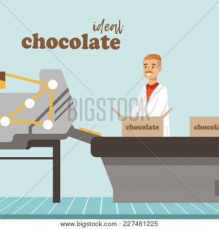 Man Packing Boxes Of Chocolate On Factory Conveyor, Male Controller Controlling The Production Proce