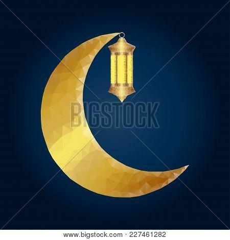 Ramadan Kareem. Vector Islam Religious Illustration Of Polygonal Arabic Lantern Fanus And Golden Pol