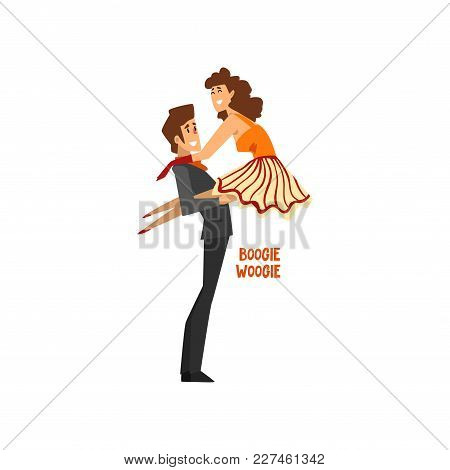 Professional Dancer Couple Dancing Boogie Woogie, Pair Of Young Man And Woman Dressed In Elegant Clo