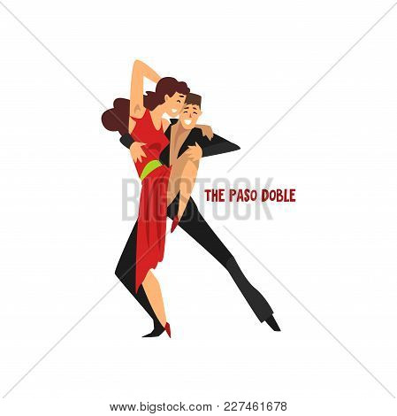 Professional Dancer Couple Dancing The Paso Doble, Pair Of Young Man And Woman Dressed In Elegant Cl
