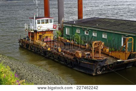 Historic Merchant Ship In Hamburg Harbor In Hamburg Europe Germany Which Was Formerly Used To For Tr