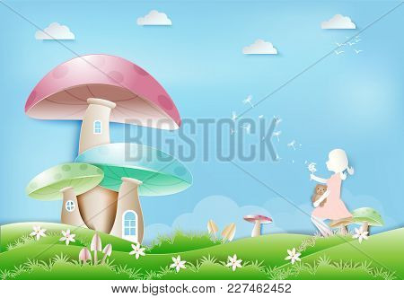 Little Girl Sitting With Teddy Bear On Mushroom With Dandelion Flower Floating Paper Art, Paper Craf