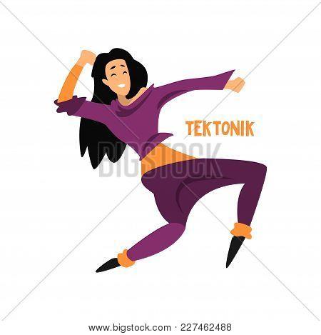 Girl Dancing Tektonik Dance Vector Illustration Isolated On A White Background.