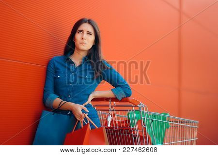 Tired Woman Having Back Problems While Shopping For Groceries