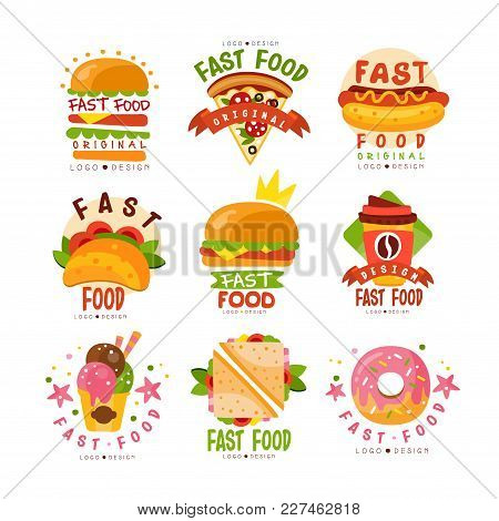 Fast Food Logos Set, Food And Drink Menu, Burger, Hot Dog, Pizza, Taco, Coffee, Donut, Sandwich, Ice