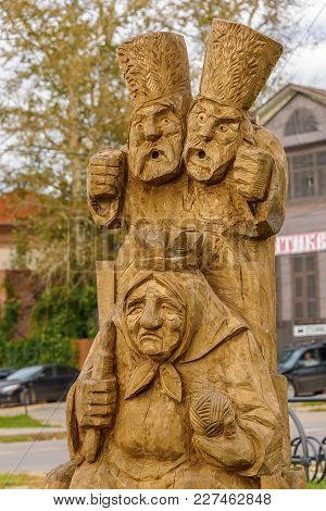 Wooden Sculpture Of The Characters Of Russian Folk Tales. Russia, Suzdal, September 2017.