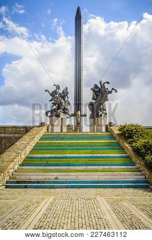 Veliko Tarnovo, Bulgaria, 03 April, 2015: The Asenevtsi Monument. The Asenevtsi Monument Was Built I