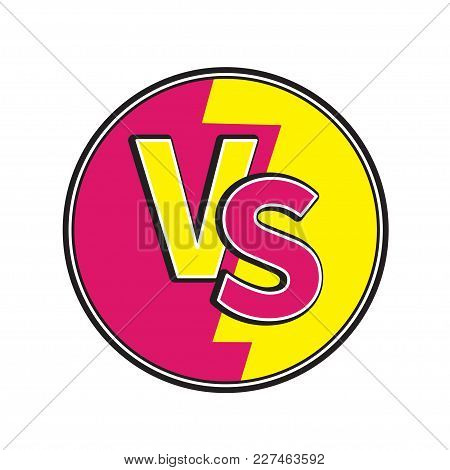 Versus Letters Round Circle Icon Or Vs Battle Fight Competition Sign Symbol. Cute Cartoon Style. Tex