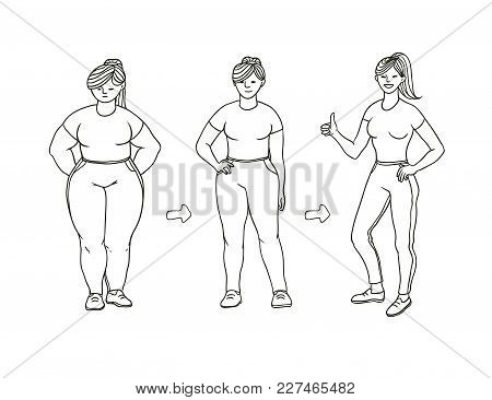 Vector Black And White Sketch Illustration Of How Fat Girl Loses Weight. Young Woman Becomes Slimmer
