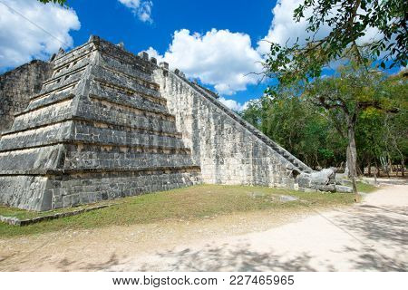 View of the Temple of the Warriors in the ruins of Chichen Itza, Mexico