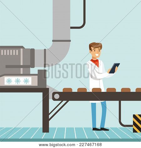 Hocolate Factory Production Line, Male Controller Holding Clipboard And Controlling The Production P