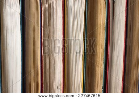 The Side Of The Stacked Books. Can Be Used Like Back Background