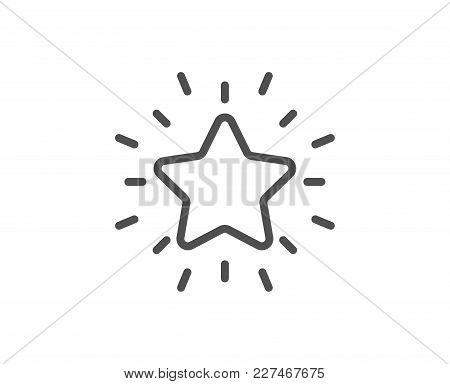 Rank Star Line Icon. Success Reward Symbol. Best Result Sign. Quality Design Element. Editable Strok