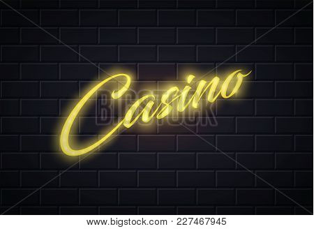 Neon Casino Sign. Vintage Retro Poker, Blackjack Card Games, Bet. Gambling Las Vegas Glowing Singage