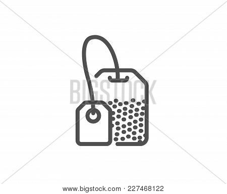 Tea Bag Line Icon. Brew Hot Drink Sign. Breakfast Beverage Symbol. Quality Design Element. Editable