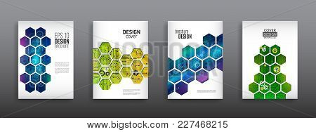 Abstract Technology Cover With Hexagon Elements. High Tech Brochure Design Concept. Futuristic Busin