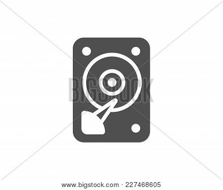 Hdd Icon. Hard Disk Storage Sign. Hard Drive Memory Symbol. Quality Design Elements. Classic Style.