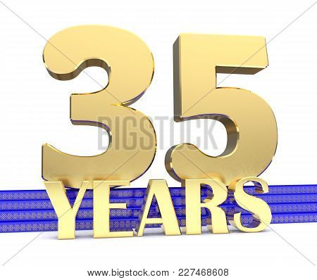 Golden Number Thirty Five And The Inscription Years On The Blue Stairs With Golden Symbols Endless K