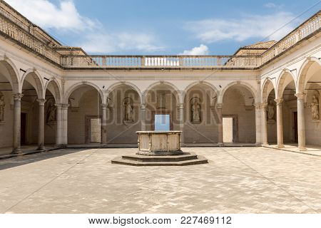 Monte Cassino, Italy - June 17, 2017: Cloister Of Benedictine Abbey Of Monte Cassino Italy