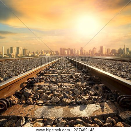 Perspective Of Railway Track Forward To Building In City