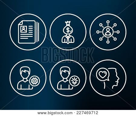 Set Of Support, Networking And Cv Documents Icons. Person Idea, Manager And Romantic Talk Signs. Edi