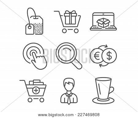 Set Of Shopping Cart, Add Products And Online Delivery Icons. Click, Businessman And Tea Bag Signs.