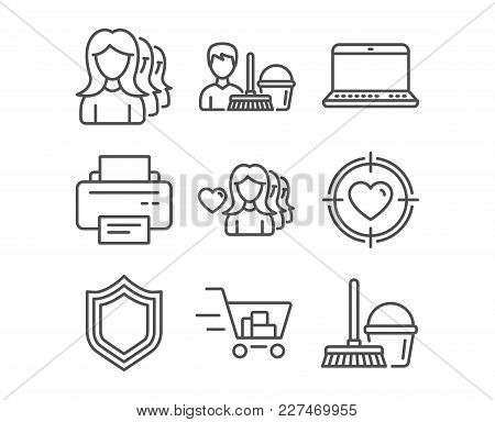 Set Of Woman Love, Notebook And Printer Icons. Shopping Cart, Cleaning Service And Valentine Target