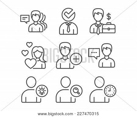 Set Of Love, Businessman Case And Find User Icons. Person Talk, User Idea And Add Person Signs. Vaca