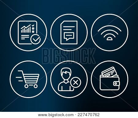 Set Of Remove Account, Comments And Checked Calculation Icons. Wifi, Delivery Shopping And Debit Car