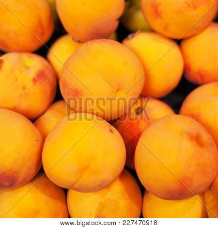 Yellow  Nectarines In The Market.  Nectarine Harvest.  Food Background