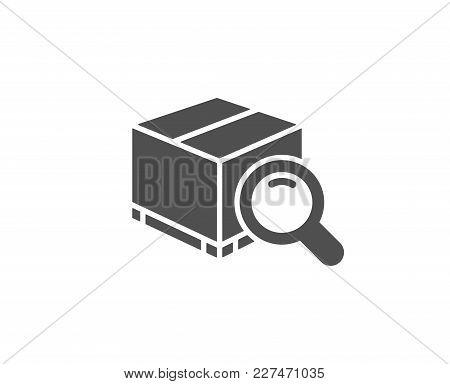 Search Package Simple Icon. Delivery Box Sign. Parcel Tracking Symbol. Quality Design Elements. Clas