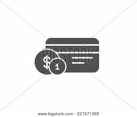 Credit Card Simple Icon. Banking Payment Card With Coins Sign. Atm Service Symbol. Quality Design El
