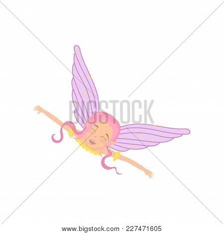 Magic Fairy In Flying Action With Arms Wide Open. Fictional Fairytale Creature With Pink Hair, Cute