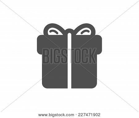 Gift Box Simple Icon. Present Or Sale Sign. Birthday Shopping Symbol. Package In Gift Wrap. Quality